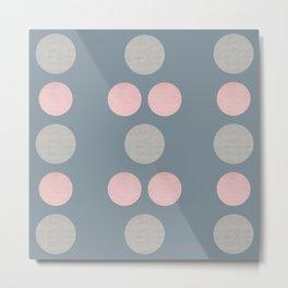 Textured Spheres - Blue Mid-Century Minimalist Metal Print