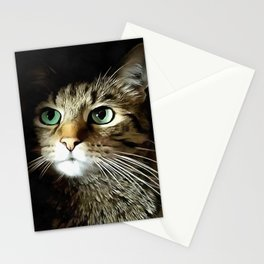 Tabby Cat With Green Eyes Isolated On Black Stationery Cards