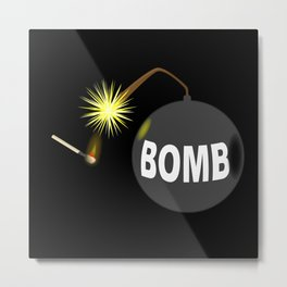 Bomb and Match Metal Print