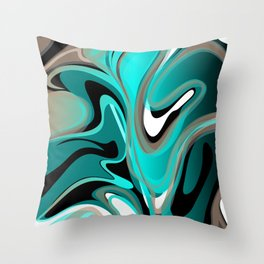 Liquify 2 - Brown, Turquoise, Teal, Black, White Throw Pillow