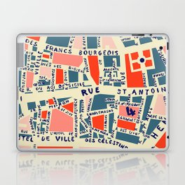 paris map blue Laptop & iPad Skin