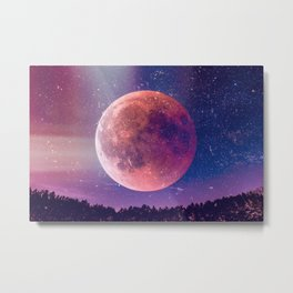 Blood Moon Over A Forest Metal Print