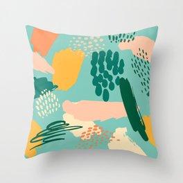 Mid-Century Modern Abstract Art in Aqua & Spicy Mustard Throw Pillow