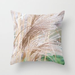 Blurred natural texture dry reed. Throw Pillow