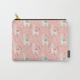 Lovely Llama on Pink Carry-All Pouch