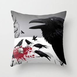 """""""Murder!"""" She Crowed (Gray) Throw Pillow"""
