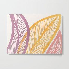 Drawn Leaf Study - Wide Mellow Summer Palette Metal Print