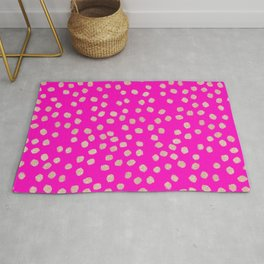 Modern rose gold glitter polka dots neon pink attern Rug