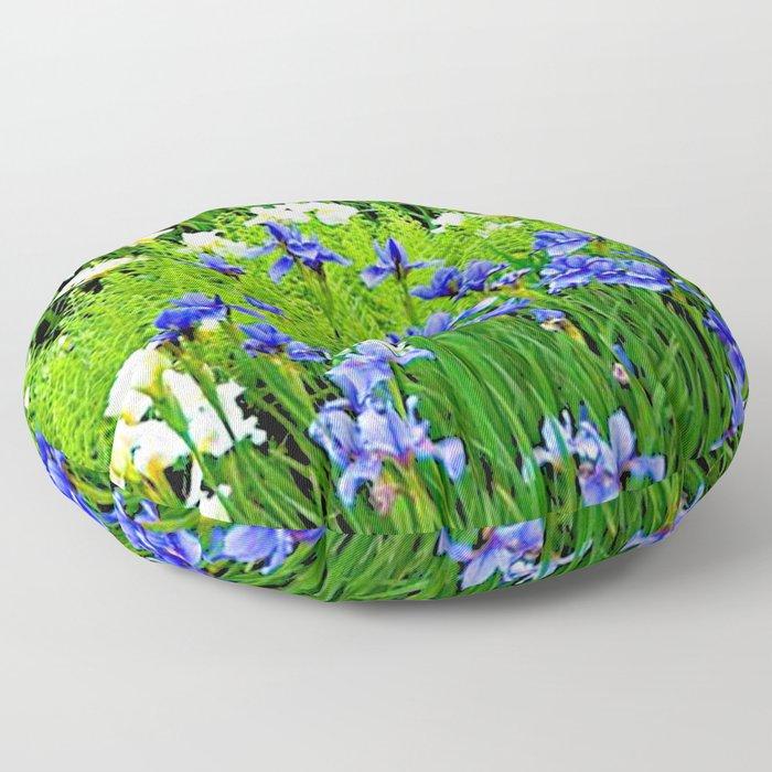 BLUE & WHITE  IRIS FLOWER GARDEN Floor Pillow