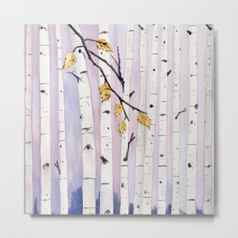 Birch Trees Watercolor Metal Print