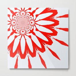 The Modern Flower White & Red Metal Print