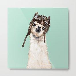 Cool Pilot Llama Metal Print