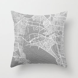 Silver Melbourne map Throw Pillow