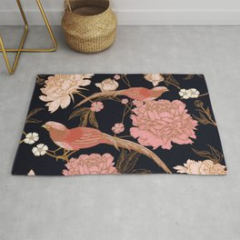 Two Pretty Birds | Chinese Oriental Design | Pink Floral Wildlife |  Rug