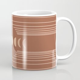 Geometric Lines // Moon Phases 3 (Terracotta Themed) Coffee Mug