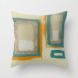Soft And Bold Rothko Inspired - Corbin Henry Modern Art - Teal Blue Orange Beige Throw Pillow