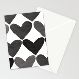 Black and White Heart Pattern Stationery Cards
