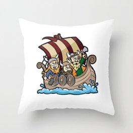 VIKINGS ON VIKING BOAT Longship Brute Berserk Throw Pillow