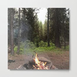 Backpacking Camp Fire Metal Print