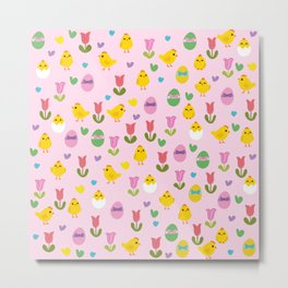 Easter - chick and tulips pattern Metal Print