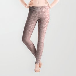 Metallic Rose Gold Blush Leggings