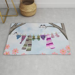 winter's over clothesline with juncos Rug