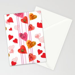 seamless  pattern with hearts and flowers Stationery Cards