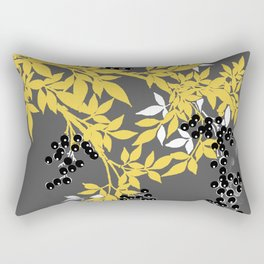 TREE BRANCHES YELLOW GRAY  AND BLACK LEAVES AND BERRIES Rectangular Pillow