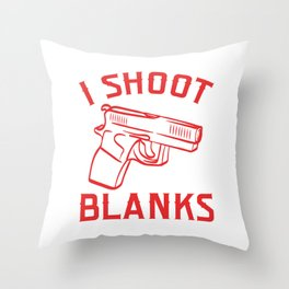 """""""I Shoot Blanks"""" Anatomy Of A Pew Bang Button Metal Magical Fire Dust T-shirt Design Shooting Throw Pillow"""
