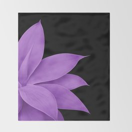 Agave Finesse #10 - Purple on Black #tropical #decor #art #society6 Throw Blanket