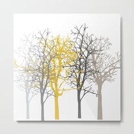 Trees yellow grey taupe Metal Print