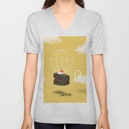 Isolated Chocolate cherry cake with parachute on yellow sky background Unisex V-Neck