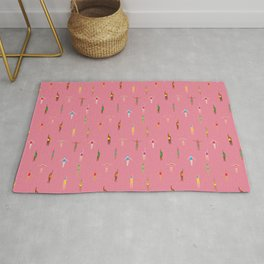 Swimmers in a Sea of Pink Rug