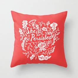 She Persisted in Bloom - red Throw Pillow