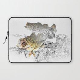 Largemouth Black Bass Fishing Art Laptop Sleeve