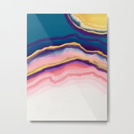 Coral Blue agate Metal Print