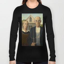 American Gothic, Classic Art Painting, Grant Wood Long Sleeve T-shirt