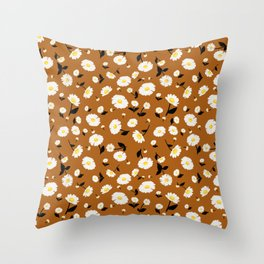 Daisies Pattern - Rust Orange Throw Pillow