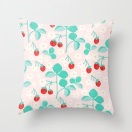 Strawberry and vine pattern Throw Pillow