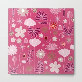 Miscellaneous flowers in a pink backgound Metal Print