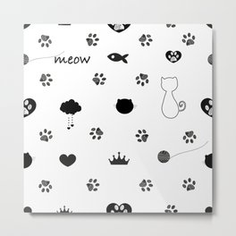 Doodle cat paw prints. Cat silhouette, fish, crown, hearts, meow text... etc symbols seamless fabric design pattern vector.jpgDoodle cat paw prints. Cat silhoutte, fish, crown, hearts, meow text... etc symbols seamless fabric design pattern  Metal Print