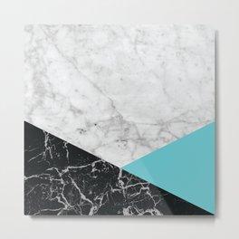 Geometric White Marble - Black Granite & Teal #871 Metal Print