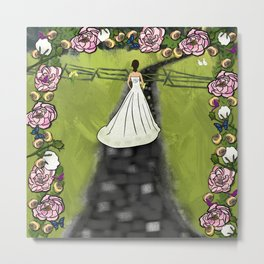 Bride in The Woods Wedding Day With Floral Arch Metal Print