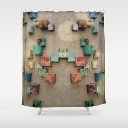 Toppled Ceramic Tiling 1 Shower Curtain