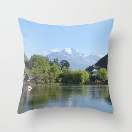 Jade Dragon Snow Mountain, Yunnan, China Throw Pillow