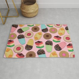Assorted Cookies on Pink Background Rug