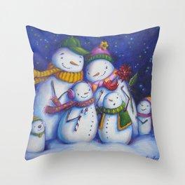 Snow Family Portrait Throw Pillow