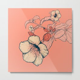 Outline flowers Metal Print