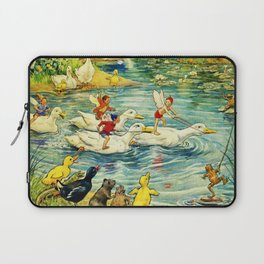 """Duck Racing in the Pond"" by Margaret Tarrant Laptop Sleeve"