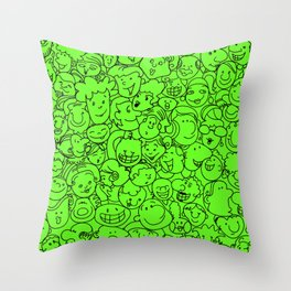 Smiling Face (Slime Green) Throw Pillow